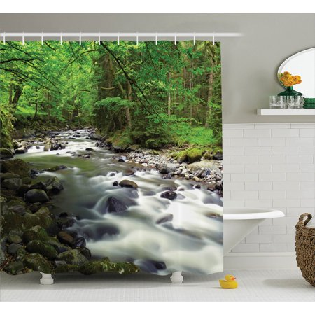 Lake House Decor Shower Curtain Set  Rushing Riverbed In Forest With Rocks Trees Mountain Branches Shrubs Nature  Bathroom Accessories  69W X 70L Inches  By Ambesonne