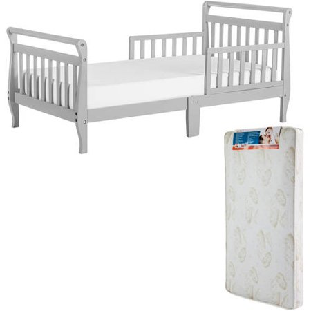 Dream On Me Sleigh Toddler Bed (Your Choice in Color) with Mattress