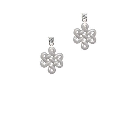 - Medium Open Infinity Knot Clear Crystal Post Earrings