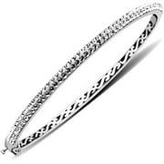 Sterling Silver White Bangle Bracelet made with Swarovski Elements, 7.5