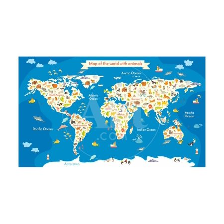 Map of the World with Animals. Beautiful Colorful Vector Illustration Print Wall Art By coffeee_in