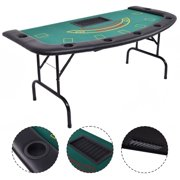 Costway Folded 7 Player Pocker Blackjack Table Texas Holdem Car Game W  Chip&Cup Holder by Costway