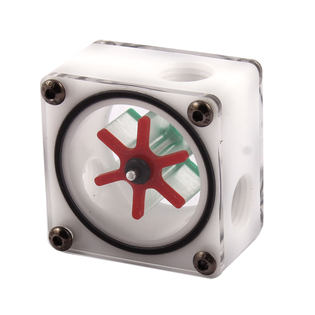Acrylic 3 Way G1/4 Threaded Square Water Cooling Flow Meter White Without Barb