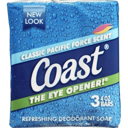 Bar Soap Classic Pacific Force Scent   3 Ct  45 De 100G Fill Tradicional Felce Dry Oz Gr Count Soap Bath Glicerina Coast Wash 90 Ounce Pack    By Coast