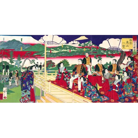 A Glimpse of Higayashiyama the Western Capital from the series Famous Places in the Nation Poster Print by Hiroshige III - Western Place
