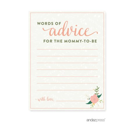 Advice Cards  Floral Roses Girl Baby Shower Game, 20-Pack