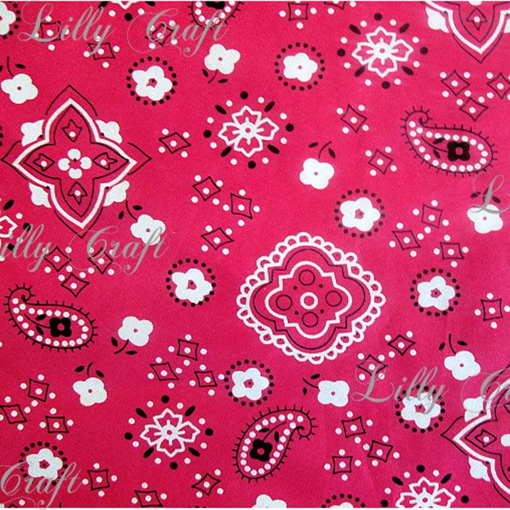 Pink Poly Cotton Print Bandana 60 Inch Fabric by the Yard