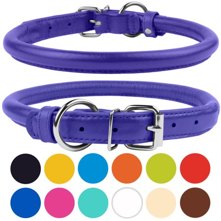 - Rolled Leather Dog Collar for Small Dogs, Purple