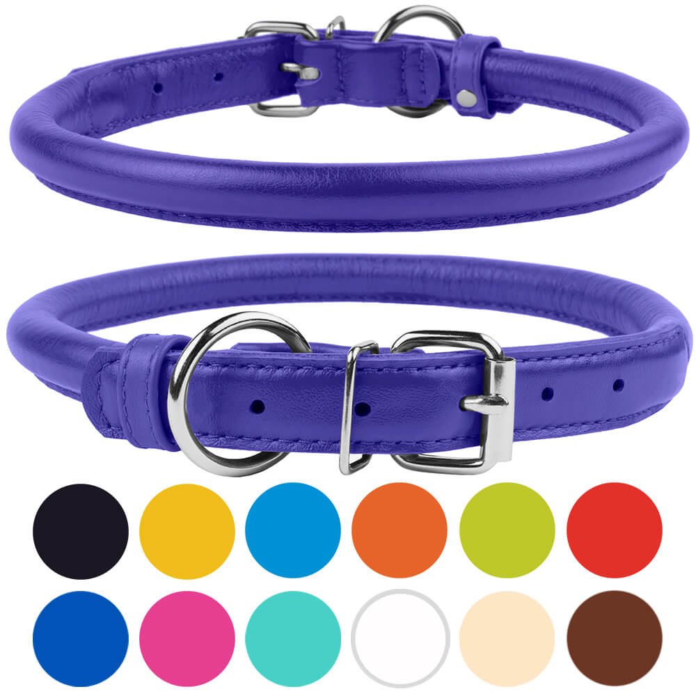 Rolled Leather Dog Collar for Small Dogs, Purple
