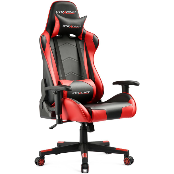 Gtracing Gaming Chair in Home Leather with Adjustable Headrest and Lumbar Pillow, Red