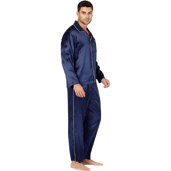 Intimo - Intimo Men s Big and Tall Silk Pajamas with Piping 7ed44f060