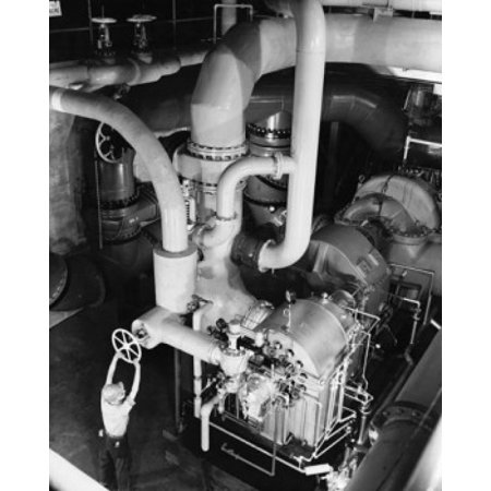 High angle view of a worker working in an engine room of a steel rolling mill Pittsburgh Pennsylvania USA Stretched Canvas -  (18 x (Ross Pittsburgh Mills)