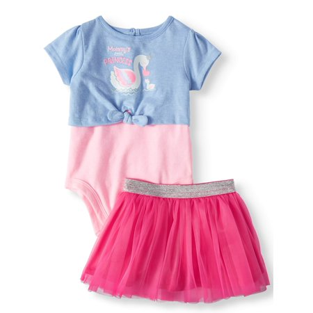 2fer Tie Front Bodysuit, Tutu, 2pc Outfit Set (Baby Girls) - Cute Baby Girl Thanksgiving Outfit