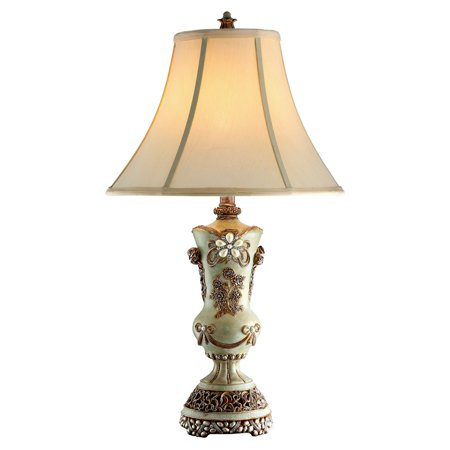 Ore International Inc. Vintage Rose Table Lamp, Ivory and -