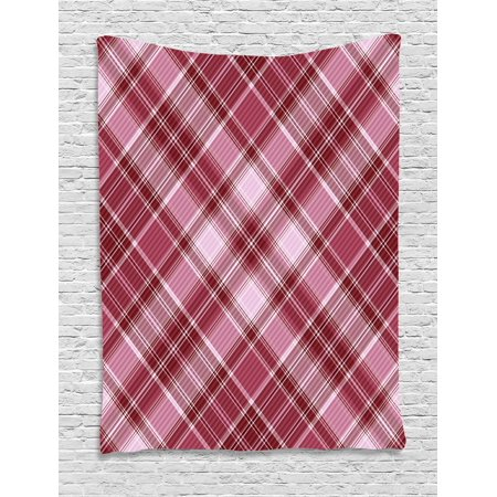 Checkered Tapestry  Cross Checkered Pattern With Diagonal Strips And Rhombus Shapes  Wall Hanging For Bedroom Living Room Dorm Decor  40W X 60L Inches  Dried Rose Ruby And White  By Ambesonne