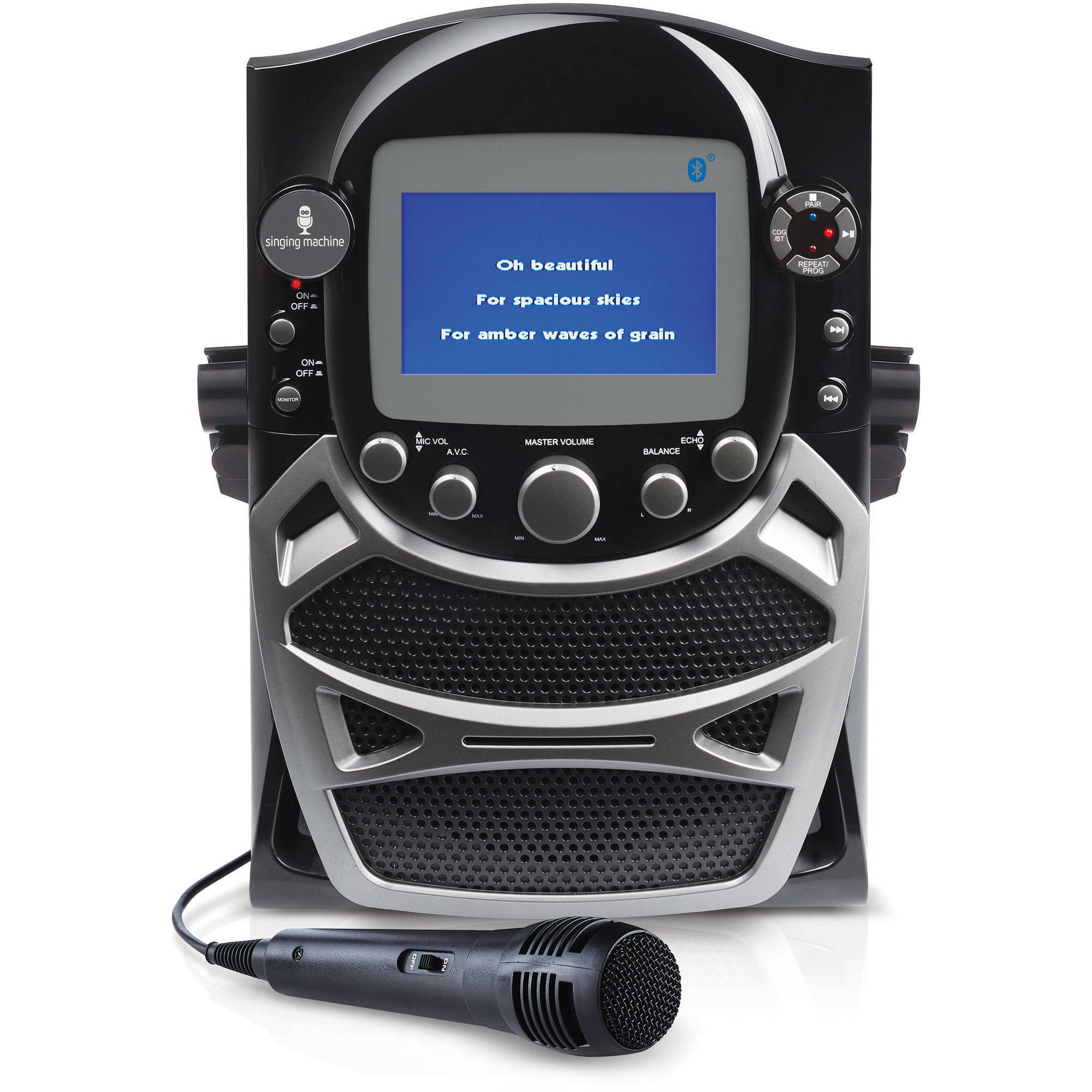 "Singing Machine CD G Karaoke Bluetooth System with Built-In 5"" Color TFT Monitor and Microphone"