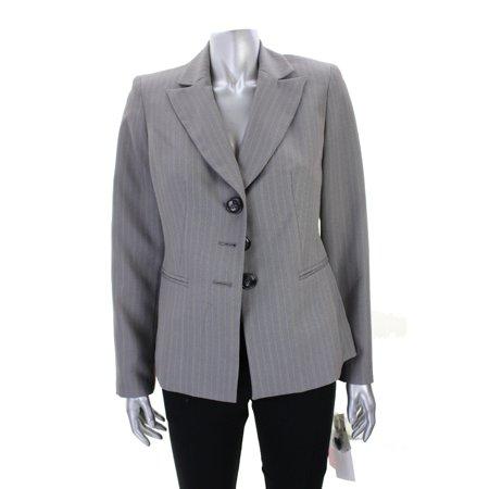 Evan Picone Grey Pinstripe Notch Collar Three-Button Blazer 4