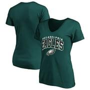 Women's Fanatics Branded Midnight Green Philadelphia Eagles Faded Arch V-Neck T-Shirt