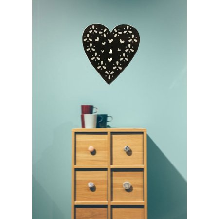 Creative Motion Heart Love shape Home, Office Shop Decor with Battery-operated 10 Light Warmwhite LED Heart Light with Black PVC Holographic Paper; Product Size: 9.44x 9.84x 0.78 (Battery Black Light)