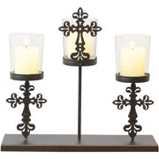 Metal and Glass Christian Cross 3 Votive Candle Holder