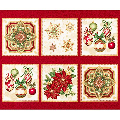 "Holiday Flourish 10~Panel 24"" x 44"" on Holiday Cotton Fabric by Robert Kaufman"