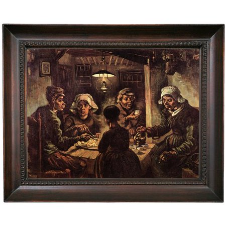 Alcott Hill 'The Potato Eaters' by Vincent Van Gogh Framed Oil Painting Print on Canvas in Gold (Van Gogh Halloween)