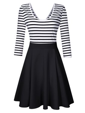 ff22db477368 Product Image Women's Striped Scoop Neck Tunic Swing Dress 3/4 Sleeve Mini  Cocktail Dress Color: