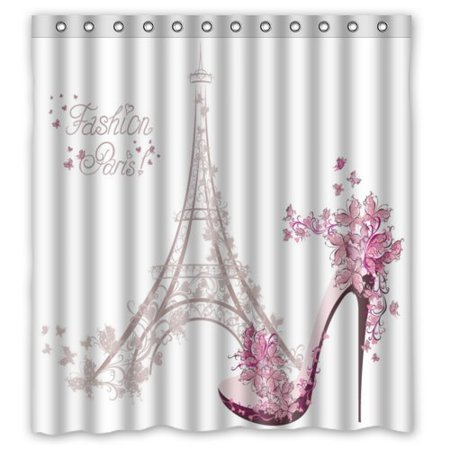 EREHome Paris Eiffel Tower Shower Curtain Polyester Fabric Bathroom Decorative Curtain Size 66x72 Inches - image 1 of 1