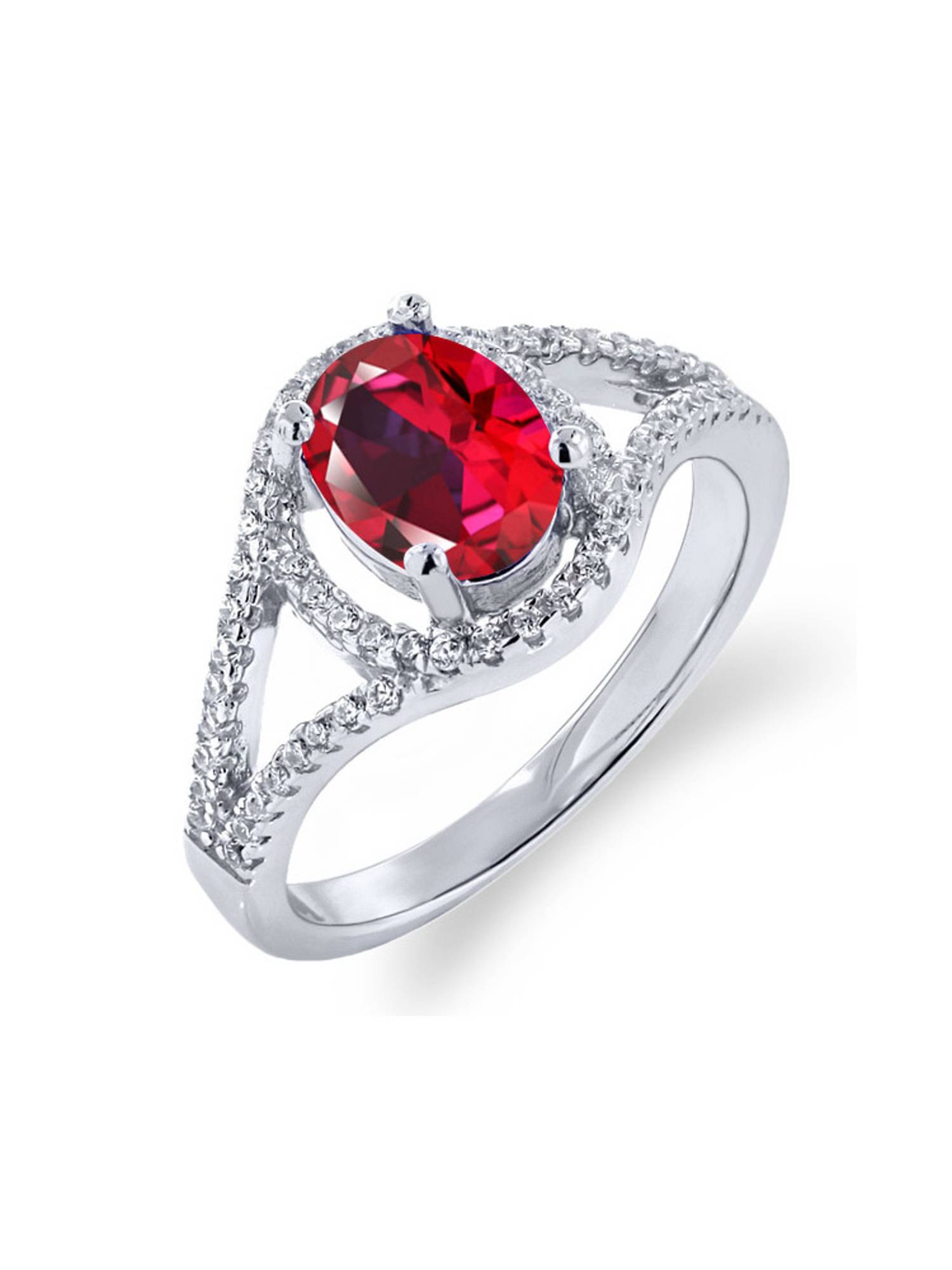 925 Sterling Silver Ring Set with Oval Blazing Red Topaz from Swarovski by