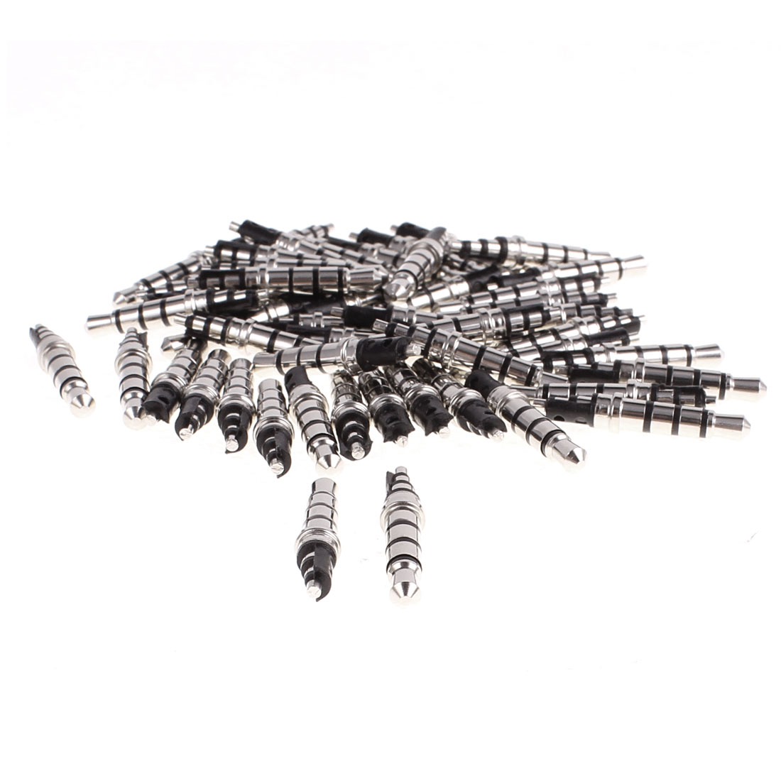 Audio Headphone 35mm 4 Poles Male Plug Jack Solder Connector Black Wiring 50pcs