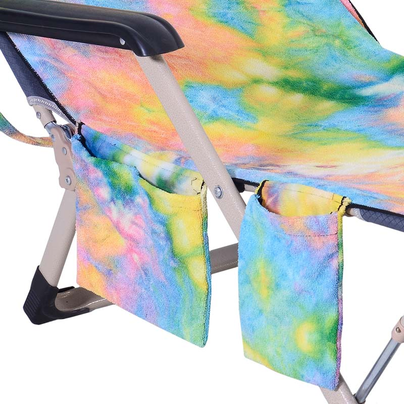 Portable Beach Towel Cover With Side Pockets Beach Chaise Lounge Chair Tow A8P0