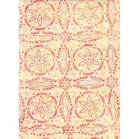 "Tonga Batik Orange Medallion on Summer Yellow Batik B9447 ~ HALF YARD ~ Quilt Fabric 100% Cotton 45"" Wide, Orange sand dollar medallions.., By Timeless Treasures"