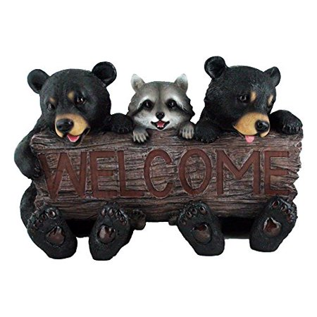 Rustic Bears And Rac Statue Holding An Outdoor Faux Wood Welcome Sign In Garden Lodge