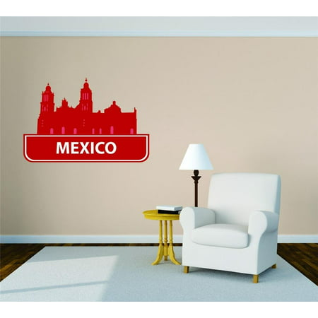Custom City Wall Map - Custom Wall Decal Mexico United States Major City Geographical Map Landmark - Vinyl Wall - 15x20