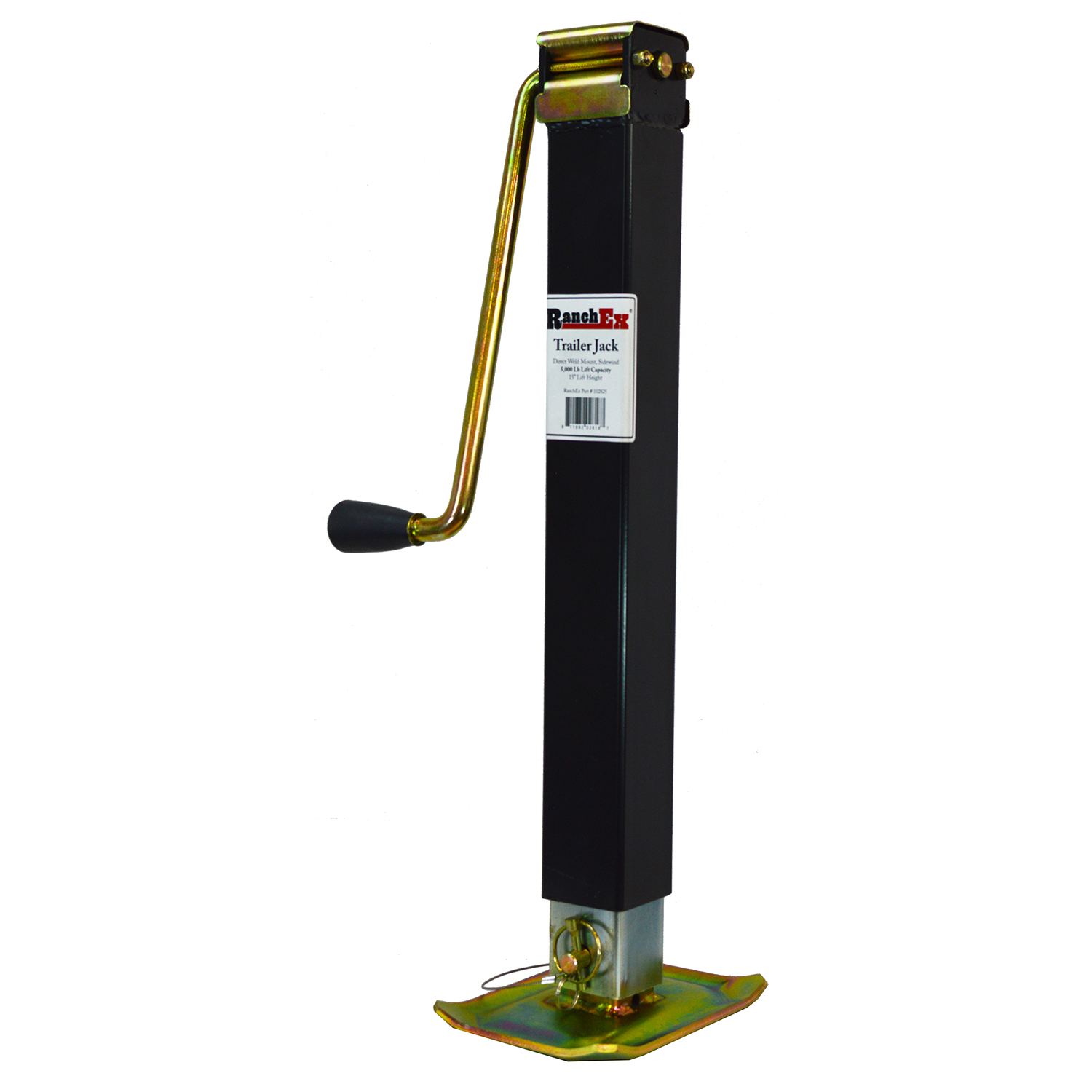 "RanchEx Square Direct Weld Side wind Trailer Jack, 5,000 lb. Lift Capacity, 15"" Lift Height by RanchEx"