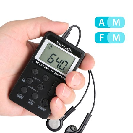 EEEkit Mini Digital Portable Pocket Handy LCD AM FM Radio 2 Band Stereo Receiver with Sleep Timer, Preset, Alarm Clock and