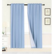 "1 PANEL LIGHT BLUE ROD POCKET FOAM LINED THERMAL BLACKOUT WINDOW DRESSING FILTERING CURTAIN R64 SIZE 35"" WIDE X 63"" LENGTH"
