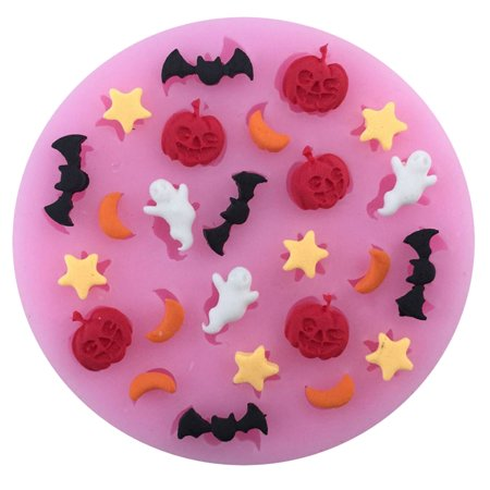Silicone Cake Mold,Justdolife Pumpkin Ghost Star Bat Cookie Mold Fondant Mold Baking Mold Chocolate Mold for Baking Halloween Fondant for $<!---->