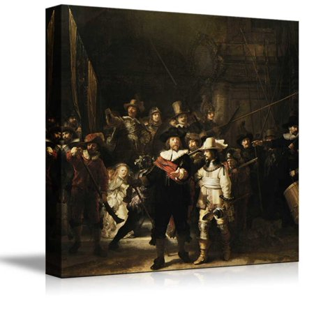 Famous Art Reproductions - Nachtwacht (or The Night Watch) by Rembrandt Famous Fine Art Reproduction World Famous Painting Replica on ped Print Wood Framed - Canvas Art Wall Decor - 16