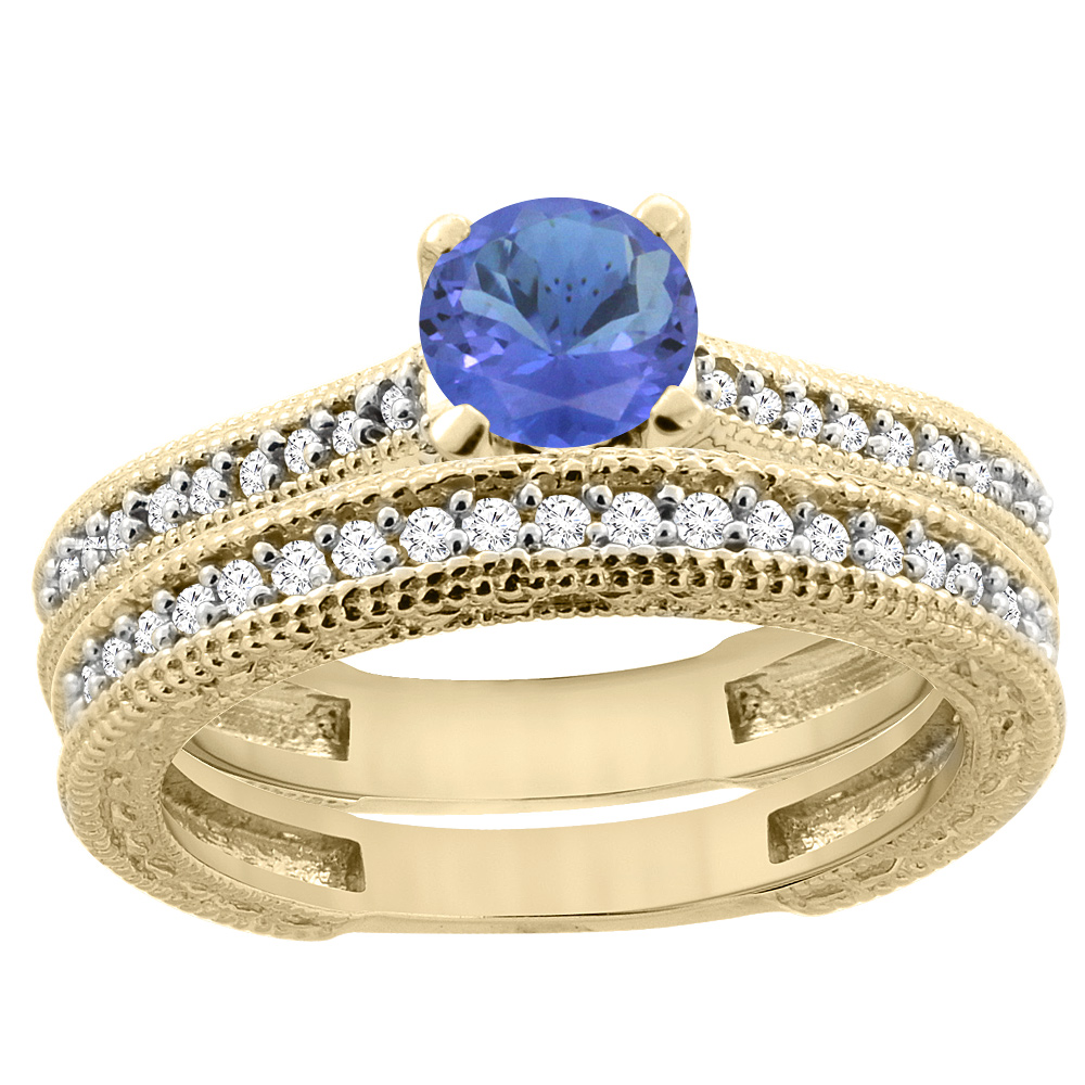 14K Yellow Gold Natural Tanzanite Round 5mm Engraved Engagement Ring 2-piece Set Diamond Accents, size 5 by Gabriella Gold