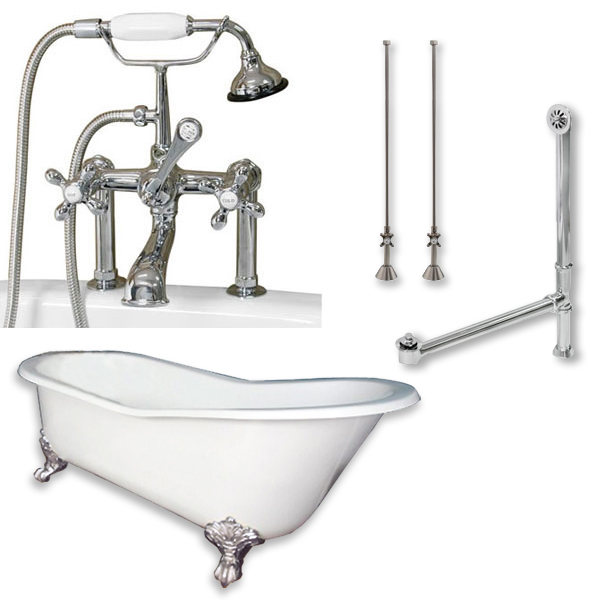 "ST67-463D-6-PKG-CP-7DH Cast Iron Slipper Clawfoot Tub 67 x 30"" with 7"" Deck Mount Faucet Drillings and British Telephone Style Faucet Complete Polished Chrome Plumbing Package with Six Deck"