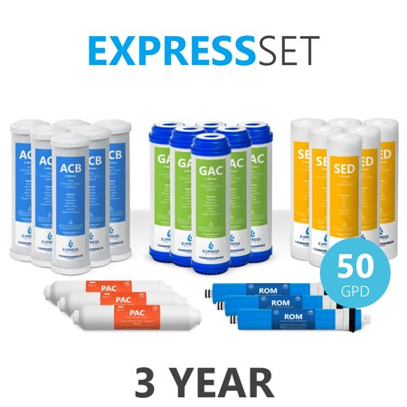 Express Water – 3 Year Reverse Osmosis System Replacement Filter Set – 24 Filters with 50 GPD RO Membrane – 10
