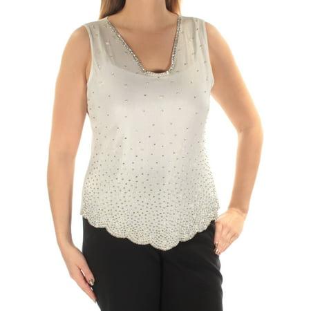 MSK Womens Ivory Embellished  Scalloped Hem Sleeveless V Neck Wear To Work Top  Size: S