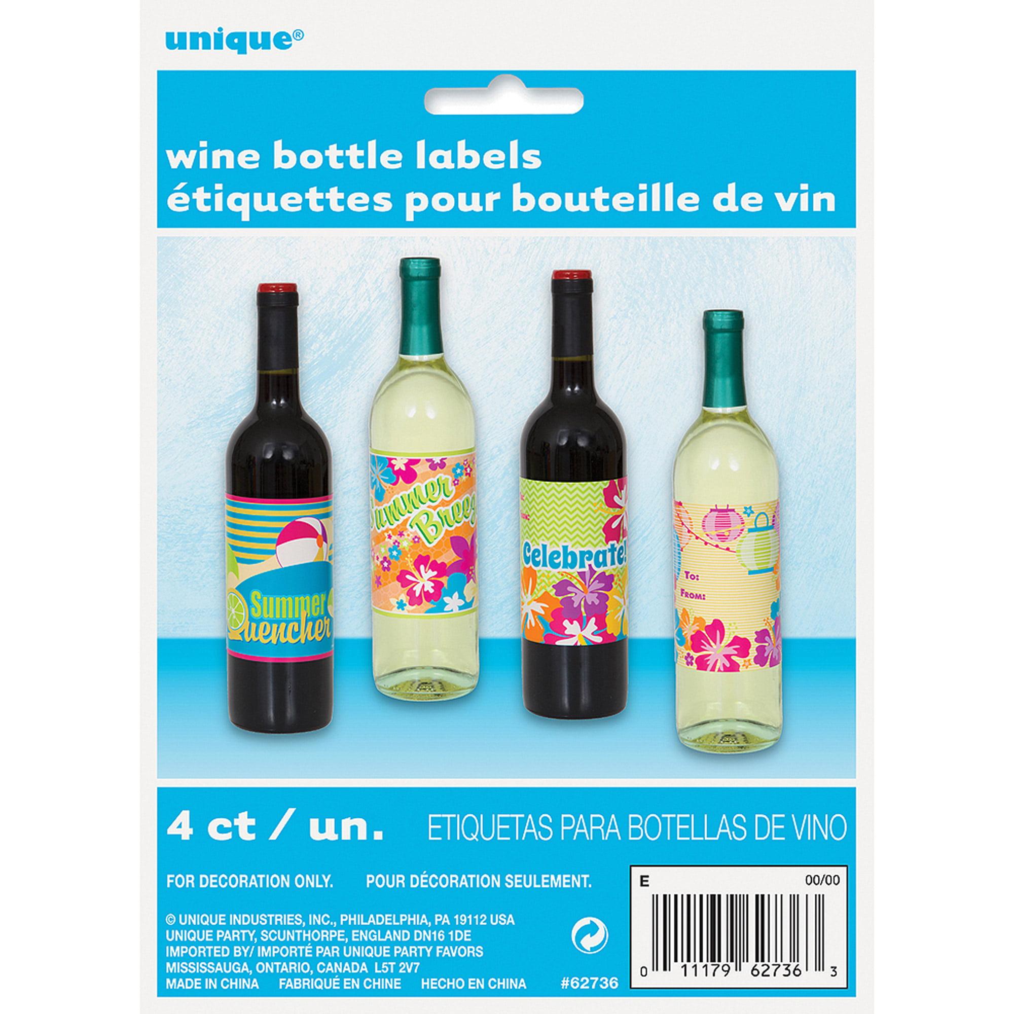 Summer Party Wine Bottle Labels, 4-Count