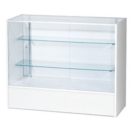 - RETAIL GLASS DISPLAY CASE FULL VISION WHITE 4' SHOWCASE