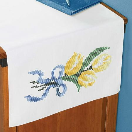 Herrschners® Yellow Tulips Dresser Scarf Stamped Cross-Stitch