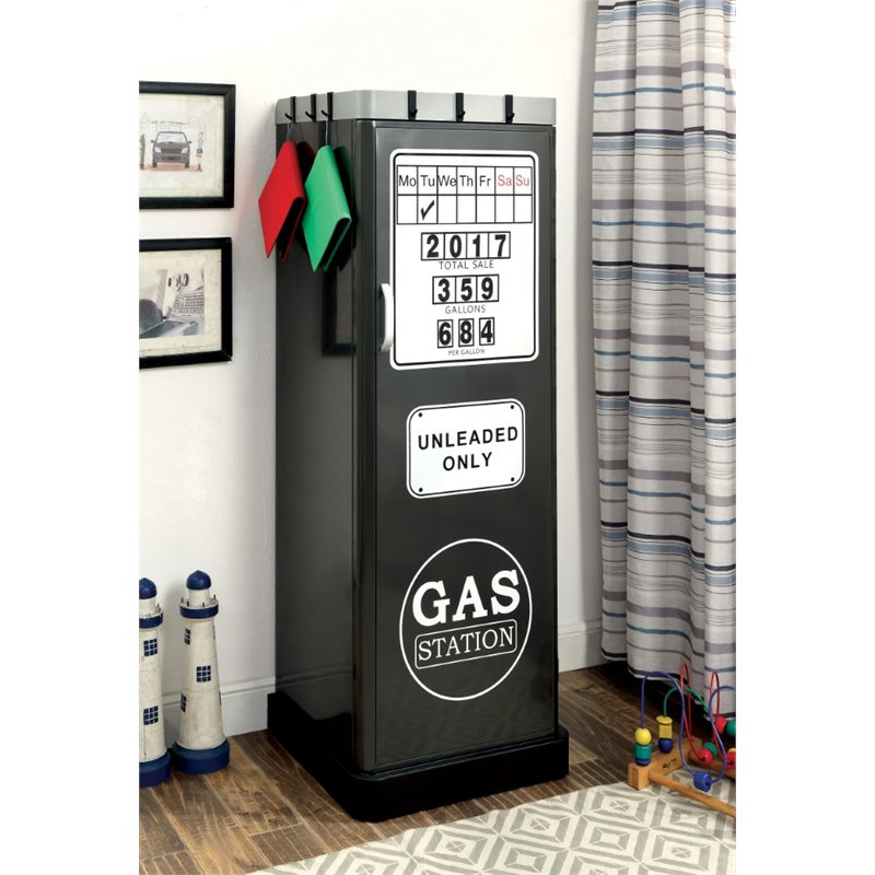 Furniture of America Mars Metal Kids Wardrobe Armoire in Gun Metal