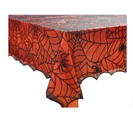 Halloween Spider Web Fabric Tablecloth Black Web with Orange Plastic Liner 52