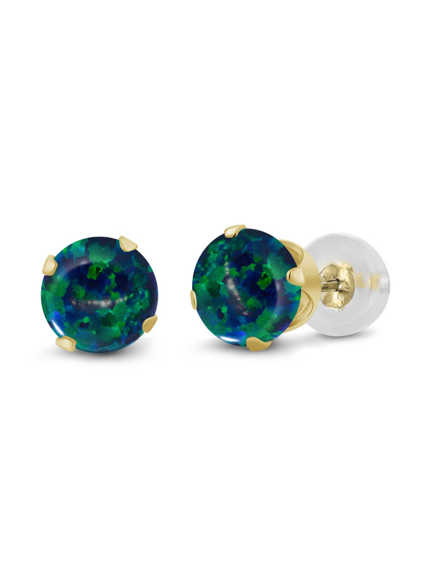 0.50 Ct Round Cabochon 4mm Green Simulated Opal 14K Yellow Gold Stud Earrings by