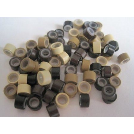 100 PCS 5mm Mixed Silicone Lined Micro Links Rings Beads for Installation for Feather and Hair